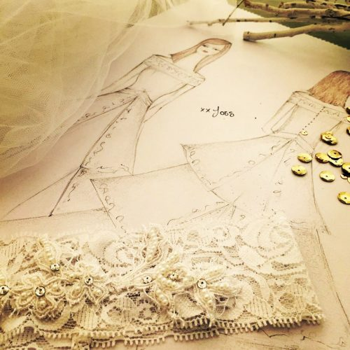 Joss Bridal Sketch & Fabric