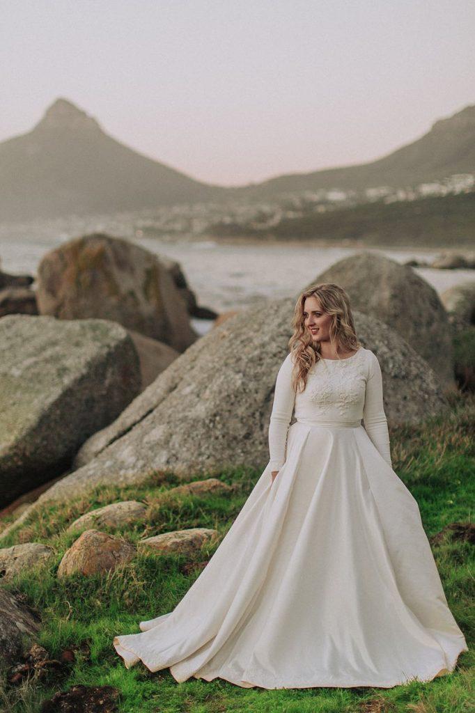 Bianca - Long Sleeved Top Appliquéd Lace | Wide Matt Satin Skirt, Pockets
